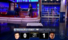 Stephen Colbert and Steph Curry Get in Sock-Launching Shootout (Video)