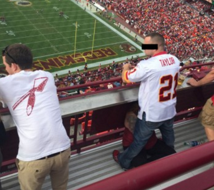 The young lady who was generous enough to provide her guy with a mid-game BJ at the Redskins-Bucs game has been spotted.