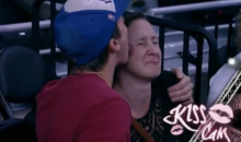 This Fella Turns the Kiss-Cam into the Lick-Cam, and It's Gross (GIF)