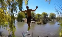 This Man Is Slacklining Over a Pit of Alligators Because He's Insane (Video)