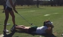 Watch a Golfer Use Her Teammate's Butt as a Tee (Video)