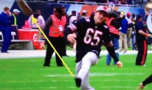 Blackhawks' Andrew Shaw Kicks Field Goal at Bears Game, Shoe Travels Almost as Far as Ball (Videos)