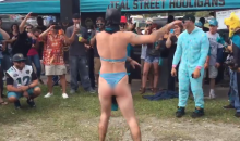 Male Jaguars Fan Dressed As Batman In A Bikini Delivers The Biggest L Of 2015 (Video)