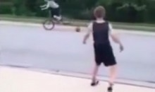 Ruthless Kid Knocks Girl Off Bike with a Basketball (Video)