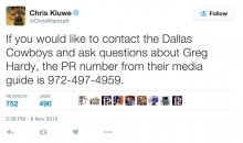 Ex-NFL Punter Tweets NLFPA and Cowboys PR Phone Numbers For Greg Hardy Complaints