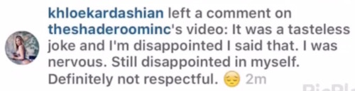 Khloe Kardashian apology