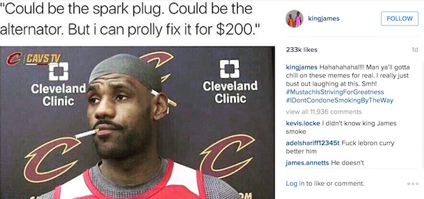 LeBron James Mustache meme even lebron is laughing at the lebron mustache memes total pro sports