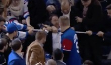 New York Rangers Fans Fight Over Henrik Lundqvist's Stick (GIF)
