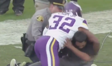 Vikings Player Stops Idiot Fan Who Ran On the Field (Video)