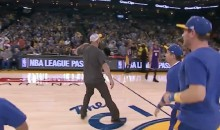Warriors Fan Wins On-Court Contest, Gives Lakers Bench the Throat-Slash (Video)