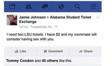 Bama Chick Offering $2 And A Threesome For Tickets To LSU Game