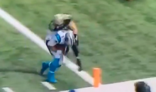 Cam Newton Gets Leveled Attempting To Get In End Zone (Video)