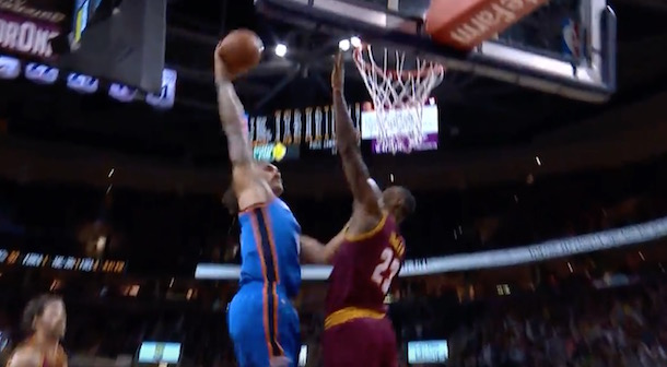 Steven Adams posterize LeBron James