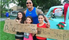 The Rock Drops in on Some Roadside Holiday Well-Wishers (Pic)