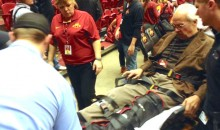Basketball Reporter Suffers Broken Leg When Iowa State Fans Storm Court (Pic + Video)