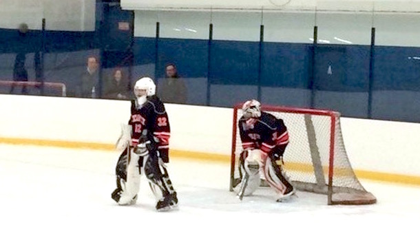 new jersey high school hockey team uses two goalies and four skaters