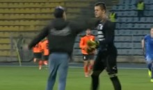 Romanian Goalie Gets Red Card For Shoving Idiot Fan Who Slapped Him In The Face (Video)