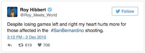 san bernardino shootings roy hibbert tweet