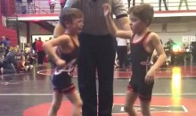 Kid Loses Wrestling Match to Twin Brother, Punches Him in the Nuts (Video)