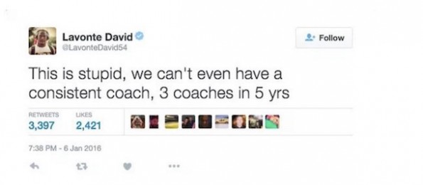 Lavonte David Twitter Comment - Lovie Smith Fired 1
