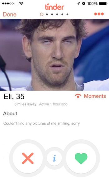 NFL  tinder profiles - eli manning