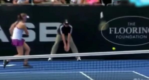 Ostapenko Throw Racket Ball Boy