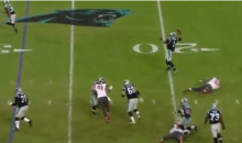 Cam Newton Nearly Throws Interception, Ends Up Being 41-Yard Completion Instead (Video)