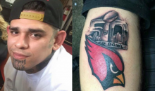 Confident Arizona Cardinals Fan Gets Super Bowl 50 Tattoo (Video)