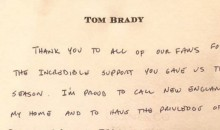 Tom Brady Thanks Patriots Fans on Facebook