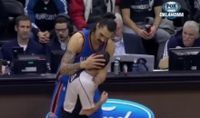 The Thunder's Steven Adams Smacked a Ref in the Head While Checking In (Video)