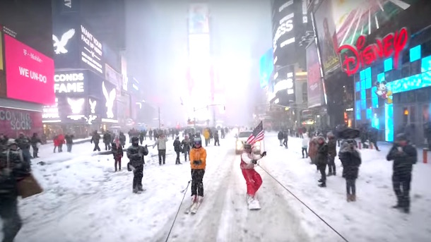 casey neistat snowboarding through streets of new york times square