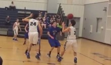 High School Bball Player Scores Basket After Pass Banks off His Face (Video)