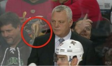 A Flames Fan Makes the Logical Decision to Dunk His Hot Dog in Nacho Cheese (GIF)
