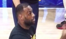 LeBron James Takes a Rogue Warm-Up Ball to the Face (Video)