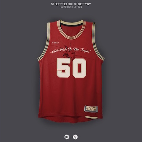 rap albums as nba jerseys - 50 cent get rich or die tryin