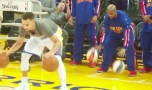 A Harlem Globetrotter Skillfully Mimicked Steph Curry's Pre-Game Routine (Video)
