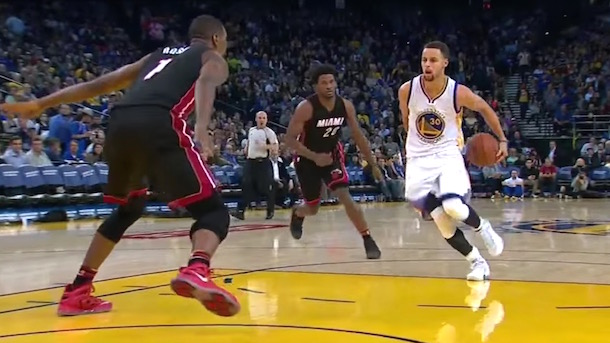 steph curry double behind-the-back pass
