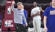 Watch  Warriors Coach Steve Kerr Drain a Half-Court Shot at Practice (Video)