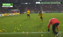 Dortmund Fans Protest High Ticket Prices By Throwing Tennis Balls Onto Pitch (Video)
