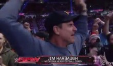 Jim Harbaugh Was Excited to Be At WWE Monday Night Raw (GIF)