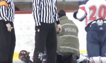 Junior Hockey Player Handcuffed and Arrested on Ice After Spitting On, Fighting Referee (Video)