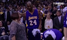It Gets Awkward When Kobe Bryant Doesn't Want to Hug This Courtside Fan (Video)