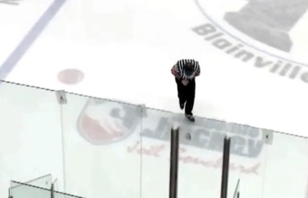QMHJL Referee beer can to the groin