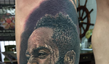 Houston Rockets Fan Gets A Tattoo Of James Harden's Face On His Leg (PIC)