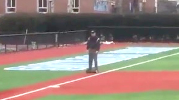 hoverboarding umpire college baseball umpire takes field on hoverboard