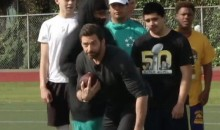 Marshawn Lynch Showed Hugh Jackman How to Play Football in Oakland on Saturday (Videos)
