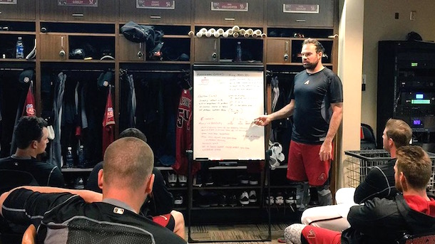 josh collmenter physics lesson diamondbacks clubhouse
