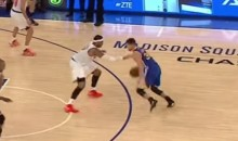 Carmelo Anthony Broke Out the Stiff-Arm While Defending Steph Curry (Video)