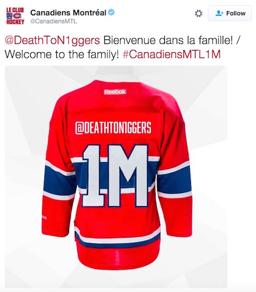 montreal canadiens twitter promotion fail death to n******