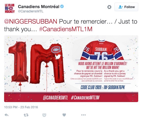 montreal canadiens twitter promotion fail subban